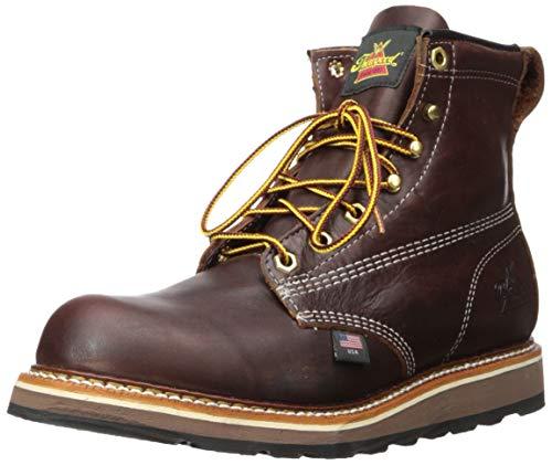 d0ab0425179 Thorogood Mens 6'' Plain Toe Wedge 814-4516 Black Walnut Leather Boots 40.5  EU