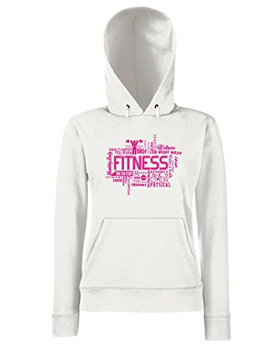 T-Shirtshock - Sweats a capuche Femme T0617 fitness fun cool geek Blanc