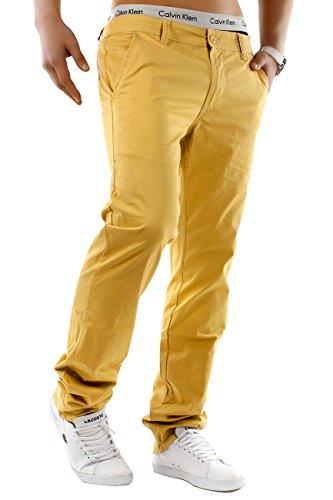 Gelbe Hosen Für Männer (Herren Chino Hose Estate Colori ID1245 Straight Fit , Farben:Gelb;Größe Hosen:W34)