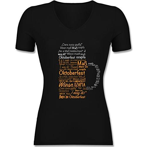 Shirtracer Oktoberfest Damen - Oktoberfest Maß - Tailliertes T-Shirt mit V-Ausschnitt für Frauen Schwarz