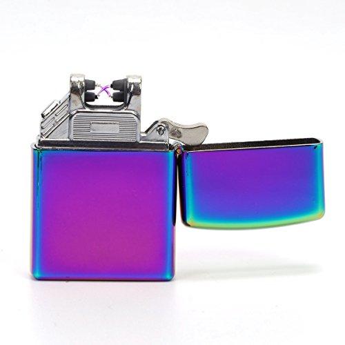 #VOSO Neu USB Feuerzeug Lichtbogen Laser Elektrisch Aufladbar Anthrazit Double Pulse (Bunt)#