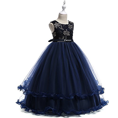 LCWORD Sommer Kinder Kleid Falten Sleeveless Mesh Polyester Rock Cute Party Performance,Blue,160 -