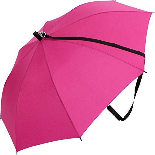 iX-brella Regenschirm mit Gurt zum Umhängen - Umhängeschirm Hands-Free mit Automatik - pink