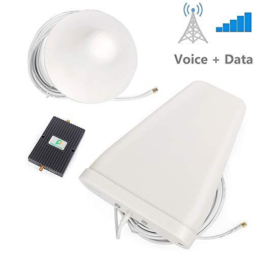 Proutone Repetidor de Señal 900MHz/1800MHz Doble-Frecuencia 65db gsm 2G 3G Amplificador de Señal Teléfono Celular Kit con Ceiling Antena Interior y Antena de Logaritmo Antena con Cable de 10M