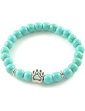 Armband 'DogLove' | Mala Perle Howlith türkis | Naturstein | Edelstein-Armband | Perlenarmband | Energiearmband...