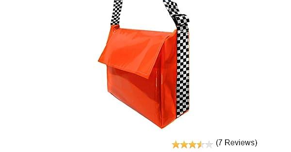 con tracolla a quadri Grande borsa per consegne di giornali e volantini arancione fluo