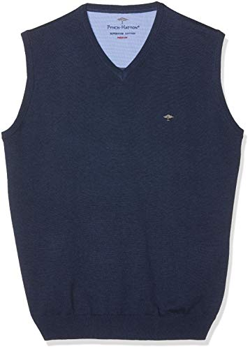 FYNCH-HATTON Herren Pullunder V-Neck Pullover, Blau (Night 680), Medium -