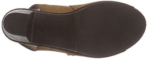 Manitu 910643 Damen Slingback Sandalen mit Blockabsatz Braun (reh)