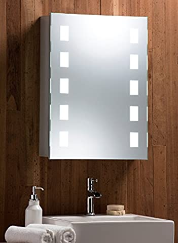LED Illuminated Bathroom Mirror Cabinet With Light and Shaver Socket, Demister Heat Pad, Sensor Switch With Lights 70cm(H) x 50cm(W) x 15cm(D) - C10-alu