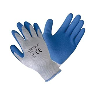 120 pairs, Latex Coated Work Gloves- Blue latex coated Poly-cotton work glove (Medium) by Azusa Safety