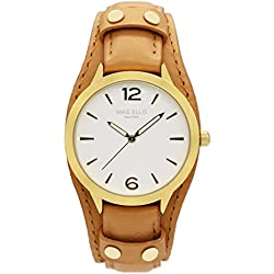 Mike Ellis New York Women's Quartz Watch with White Dial Analogue Display and Leather bronze - SL4346E