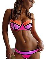 Aidonger Damen Push-Up Bikini-Sets Verbindung Farben Bademode Badeanzug