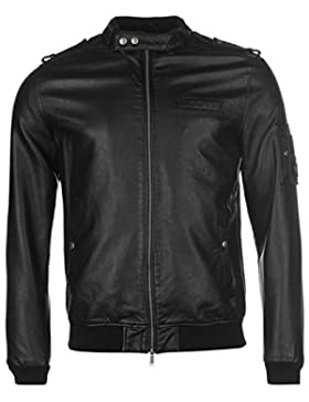 Firetrap Blackseal Bomber chaqueta para hombre color negro chaquetas abrigos Outerwear, negro, small