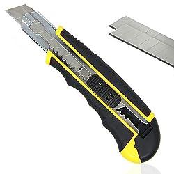 PRETEX Cuttermesser mit gummiertem Griff und 2 Ersatzklingen | Teppichmesser, Universalmesser