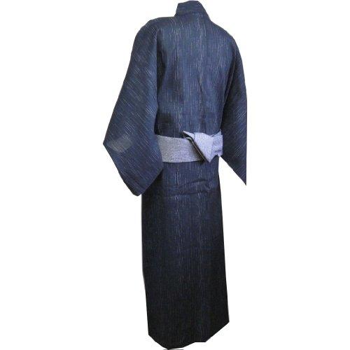 Edoten Men's Kimono Japan Shijira Weaving Yukata 703 Black L - 9
