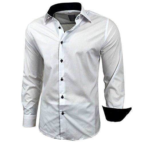Rusty Neal camisa Bicolor de manga larga, lisa, de hombre, corte slim fit, estilo de negocios blanco L