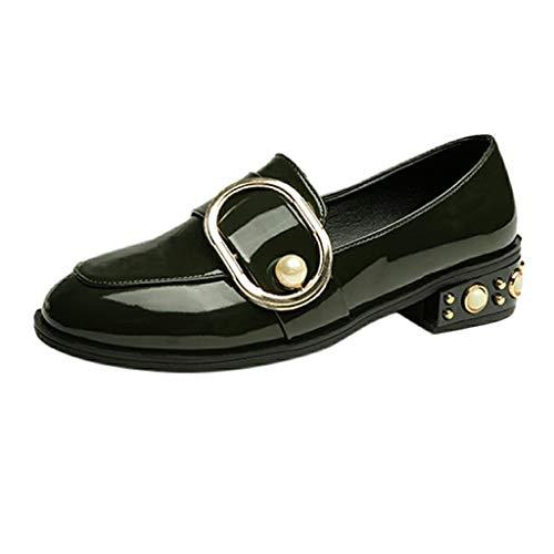 Scarpe da Donna Eleganti Vendita di Scarpe Casual per Studenti Scarpe con Punta Arrotondata in Pelle con Tacco Alto Scarpe da Lavoro con Tacco Quadrato per Donna/Ragazza di Kinlene