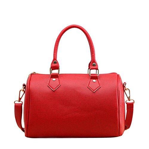 Frauen Handtasche, brezeh Schultertasche Tote Geldbörse Leder Messenger Hobo-Tasche Weiß Einheitsgröße rot (Faux-leder-handtasche Tasche Geldbörse)