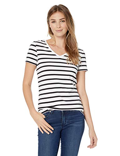 Amazon Essentials Women's 2-Pack Short-Sleeve V-Neck Solid T-Shirt