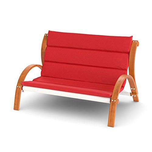 Lounge 2er Sofa Malibu | Auflage rot | Gartenmöbel wetterfest mit Armlehne | Loungemöbel aus vorbehandeltem Holz