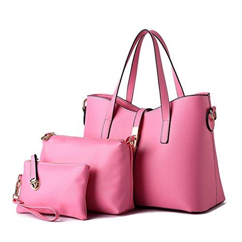 Set di 3 Borse - Donna Borse a Mano e Borse a Spalla Borse a Tracolla - Borse di Cosmetici - Borsetta di Frizione Argento Pink