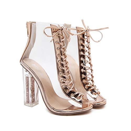 Europäische Und Amerikanische Mode Transparente Riemen Kristall High Heel Coole Stiefel Hohl Sexy Schuhe (Farbe : Hautfarbe, größe : 40)