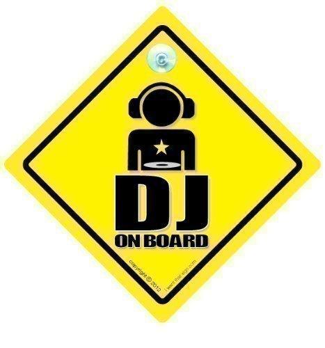 """DJ Cartello on Board, DJ, DJ-on Board, DJ-Adesivo per auto con Jockey, scritta """", decalcomania, adesivo per auto, MC Rap, motivo: Hip-Hop,-Segnale auto"""" Baby on Board """", per auto, con stampa grafica, da auto"""