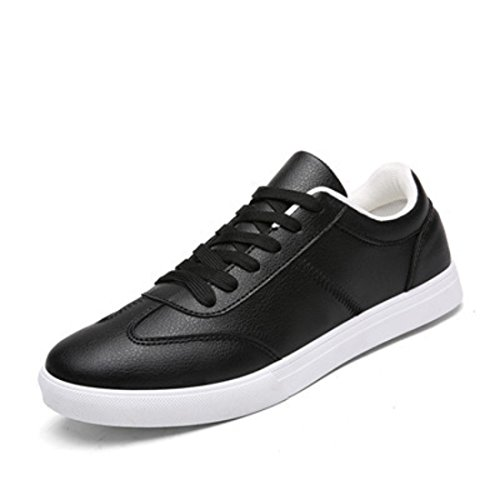 Men's White Low Pedal Lace Up Breathable Skateboard Shoes Black