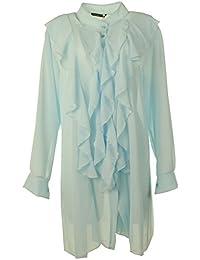 Gracious Girl Frauen Italienisch Taste Hoch Rüschen Vorne Chiffon Damen Tunika Shirt Top Plus Größen