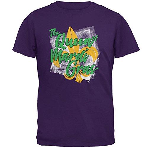 The Queen of Mardi Gras Mens T Shirt Purple 2XL (Mens Fleur Tee)