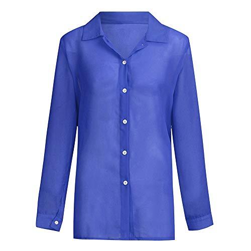 Fenverk Frauen Lange Ärmel Partytop Sommertop Fasching T-Shirt Damen Hemd Kurzen Shirt Casual Blusen Sexy Tiefer V Ausschnitt Oberteil Tops Weich Bequem(Blau,L)