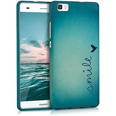 kwmobile FUNDA de TPU silicona para Huawei P8 Lite Diseño Smile azul turquesa - Estilosa funda de diseño de TPU blando de alta