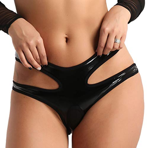 dPois Damen Hotpants Ouvert-Slip Low Rise Bikini Slip Leder Shorts String Tanga Reizwäsche Dessous Unterwäsche im Wetlook Lack Leder Shorts Panties Schwarz Medium