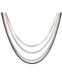 Yazilind elegant style Chaine 4 de couleur argentee Golsen Noir alliage multi Strand Sautoir femmes