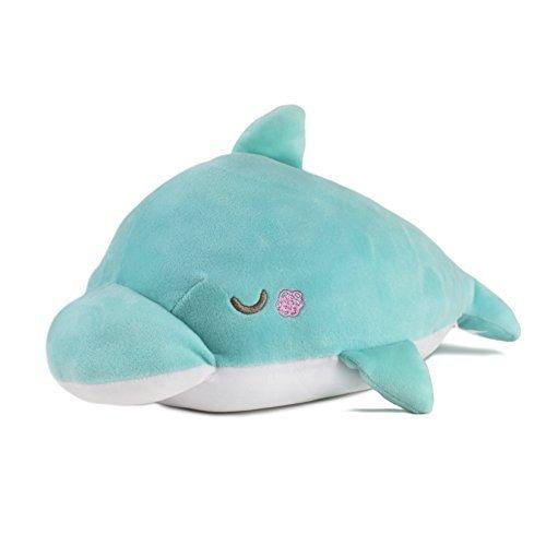 YINGGG Delfín Suave Almohada de Peluche Animal Regalo Relleno de Juguete 65*40*25cm/25 Pulgada para Niños / Adultos (Grande, Dolphin-Ciánico)