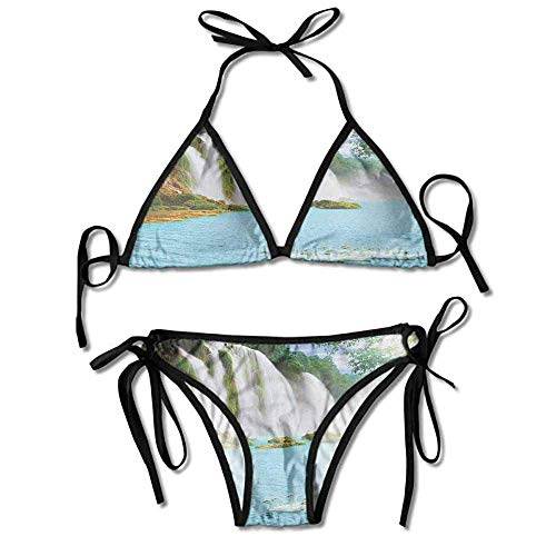 ni Set,Waterfall with Swans in Sexy Bikini 2 Pieces ()