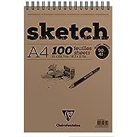 Bloc Sketch croquis spiralé 21x29,7 90g 100 feuilles papier blanc