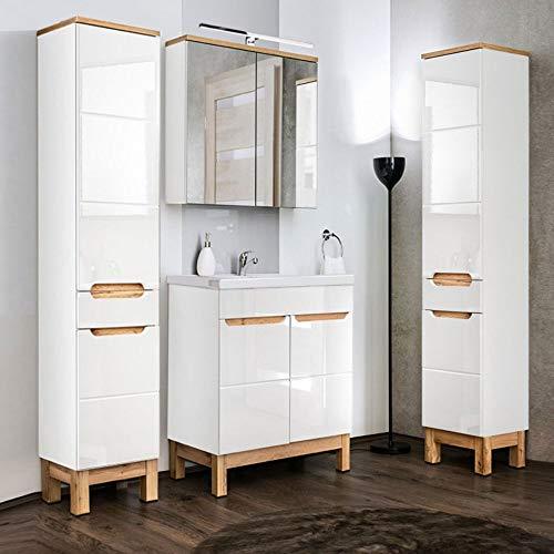 Lomadox Badrmöbel Set in Hochglanz weiß mit Eiche, 60cm Keramik-Waschtisch, LED-Spiegelschrank & 2 Hochschränke -