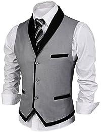 JINIDU Chaleco de solapa formal con bolsillo para boda, negocios, fiesta para hombre