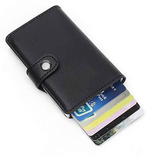 CLUONE Geldbörse Kredit-Kartenetui für Herren mit Geldklammer, Premium, kompakt, Geld Clip, RFID NFC Schutz, Geldbeutel, Aluminium, Slim Wallet (schwarz)