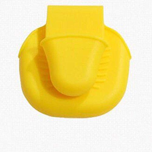 Preisvergleich Produktbild Hochtemperatur-Anti-Heiß-Handschuhe Ordner Backhandschuhclip Ofenschutzclip Silikonhandschuhclip Mikrowellen-Spezial-Ordner , yellow