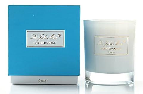 Pfefferminze Duftkerze Aromatherapie 100%Sojawachs Blau im Glas ätherische Öle Beruhigung Ocean Meer 45Std 230g