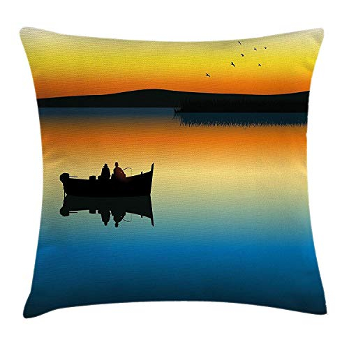 Fishing Decor Throw Pillow Cushion Cover, Buddies on Tranquil Still Lake at Epic Sunset Fish Male Friends Home Decor, Decorative Square Accent Pillow Case, 18 X 18 Inches, Orange Blue (Bed Buddy Bear)