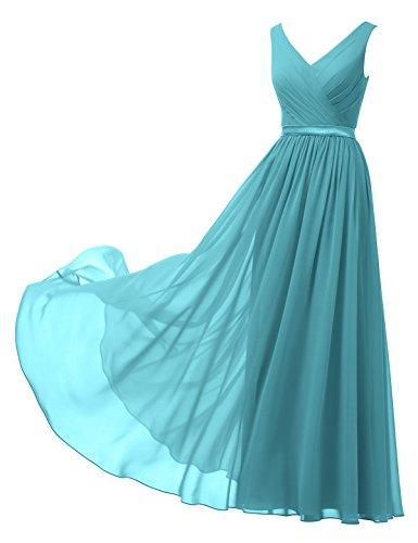 Alicepub A-Linie Chiffon Brautjungfernkleider Abendkleider Lang Ärmellos Ballkleider, Türkis, 42