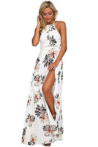 Whoinshop Damen Sommerkleid Lang Blumen Maxi Beach Kleid Rückenfreies Strandkleid Partykleider Vintage Kleid Weiß