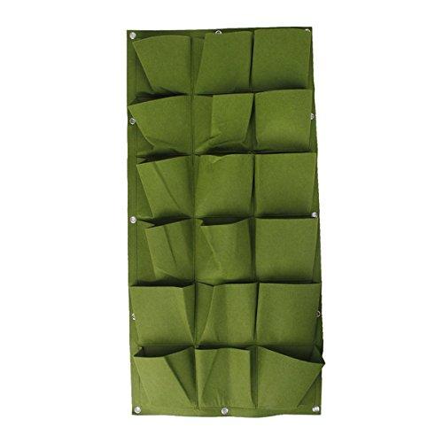 OUNONA Generische 18-Pocket Pflanztaschen Wand Pflanzer Tasche Indoor/Outdoor Kräutertopf (Grün)