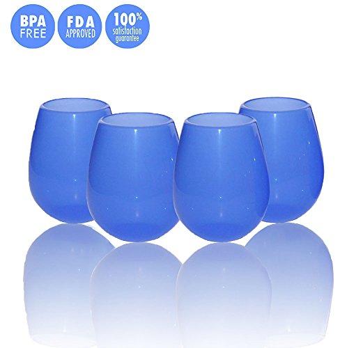 faltbare weinglaeser ThreeCat Set aus 4Silikon-Weingläsern, unzerbrechliche, faltbar, ohne Stiel, Outdoor-Gläser für Bier oder Whisky, tragbare Trinkbecher 12oz Blue