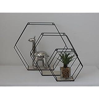 Annibells at Home Set of 3 Hexagon Black Metal With Wood Shelves Retro Display Wall Units