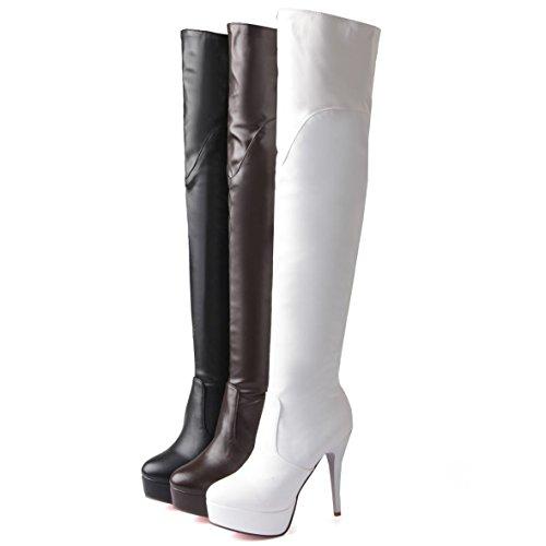 eee669cf0cca OALEEN Bottes Cuissardes Femme Sexy Cavalières Fourrure Zip Chaussures Talon  Aiguille Haut Plateforme