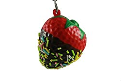 red strawberry with chocolate squishy cellphone charm